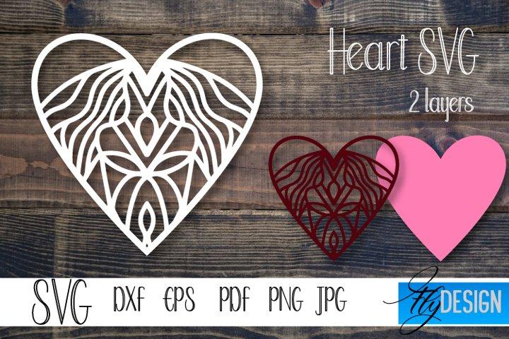 Heart Love SVG. Layered Heart SVG. Valentines Day SVG. v5-5.
