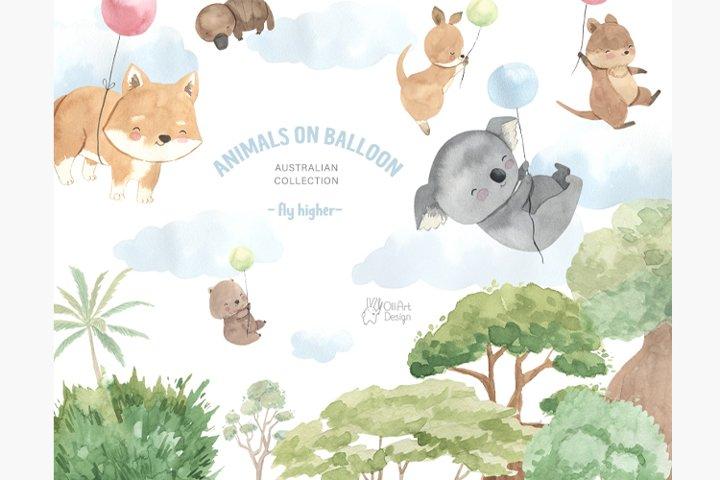 Australian animals clipart. Watercolor koala, kangaroo, etc.
