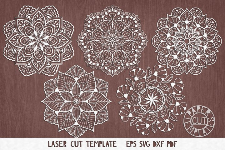 SVG Set mandalas cut files for laser cutting, for Cricut.