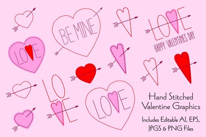 Hand Stitched Valentine Graphics