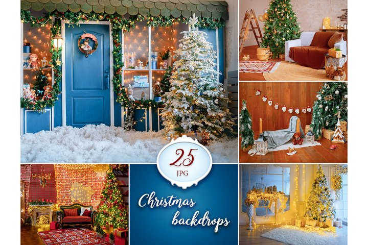 25 Christmas Digital Backgrounds