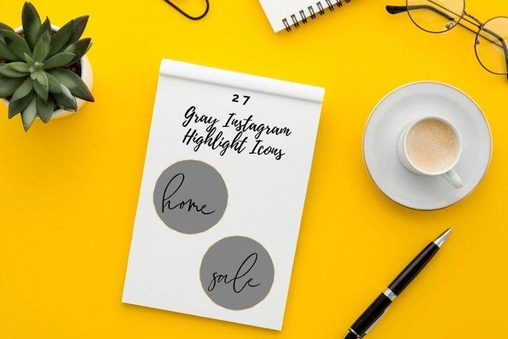 27 Handwritten Cover Set, Gray Watercolor Social Media Icons