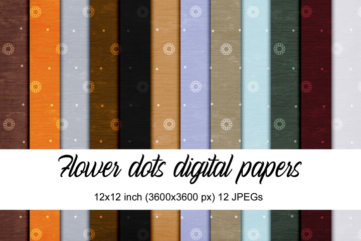Flower Dots digital papers