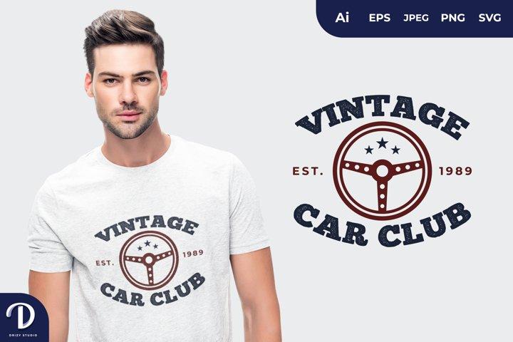 Vintage Car Club Hand Drawn Lettering for T-Shirt Design