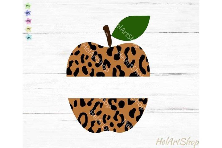 Leopard Print Apple svg, Teacher svg, Monogram svg