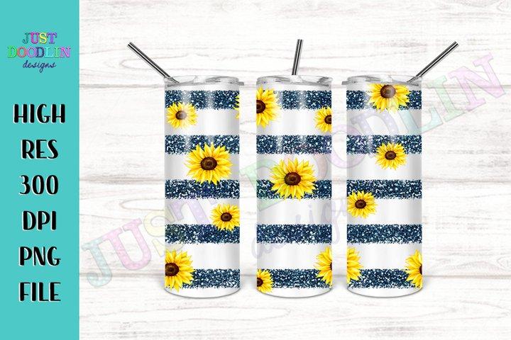 Striped Sunflower 20 oz tumbler design