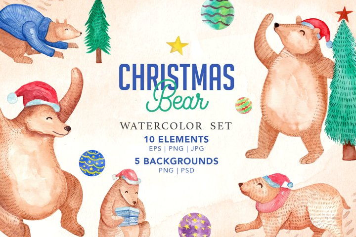 Cute Christmas Bear Watercolor Set