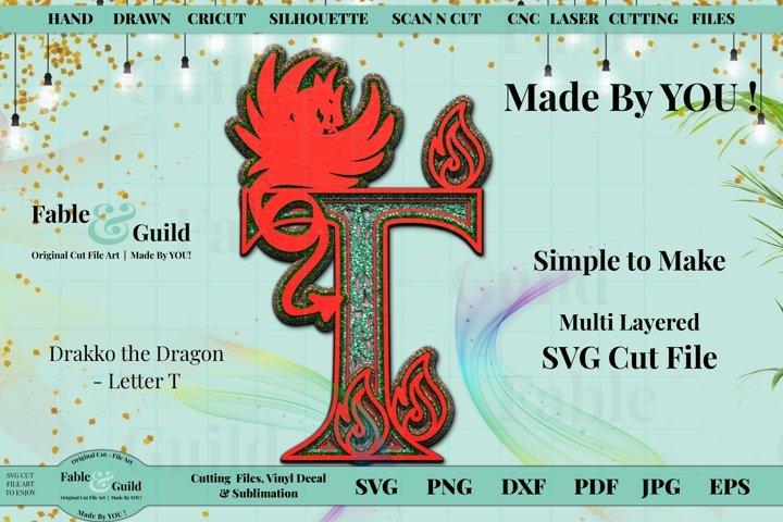 Dragon Fire SVG Alphabet Monogram 3D Layered Letter Design