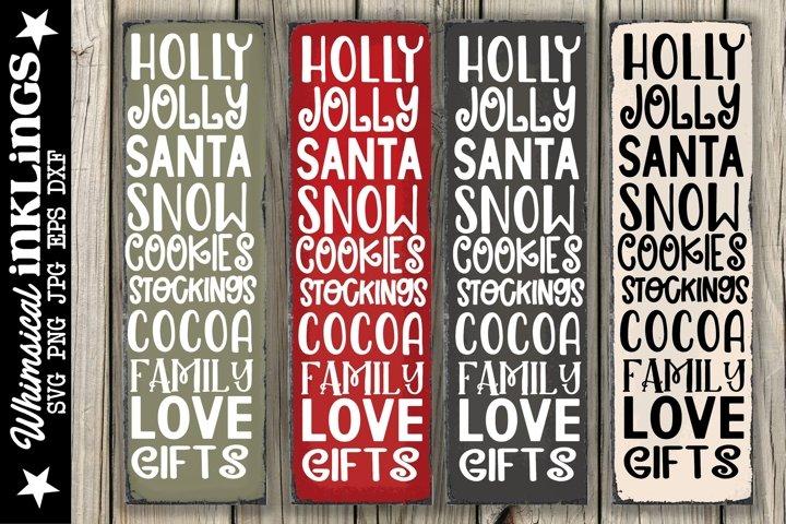 Holly Jolly-Vertical Christmas SVG