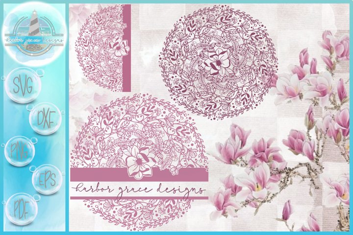 Hand Drawn Magnolia Mandala Zentangle | Half | Split Frame