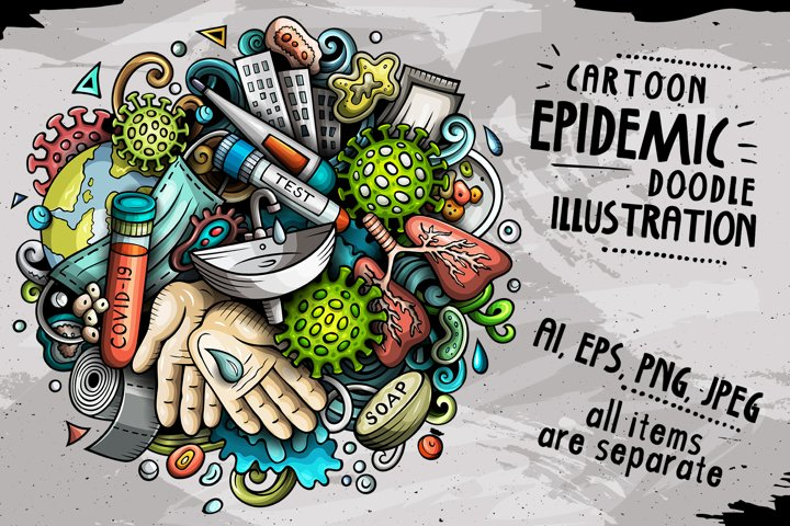 Cartoon vector doodles Epidemic illustration