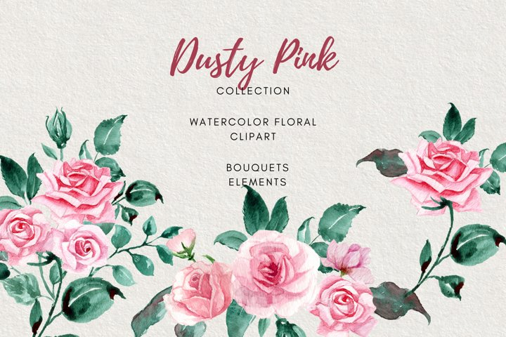 Dusty Pink Roses Collection Clipart, Bouquets, Wreaths