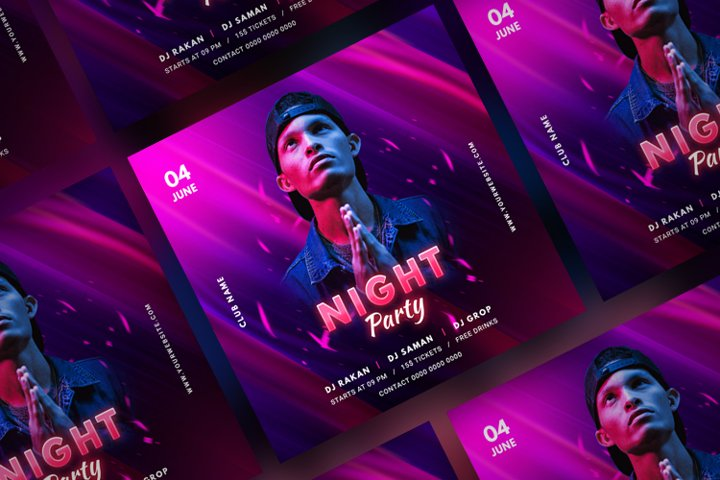Music Party Social Media Post Template. Vol 9