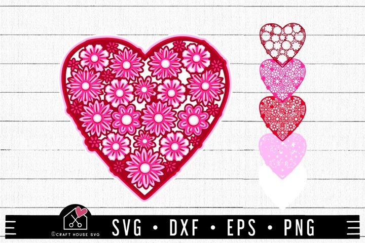 3D Floral Heart Mandala SVG file | Valentine SVG | FB174
