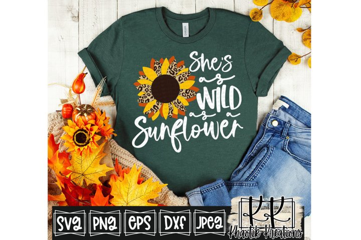 Shes as Wild as a Sunflower Svg, Leopard Sunflower Svg