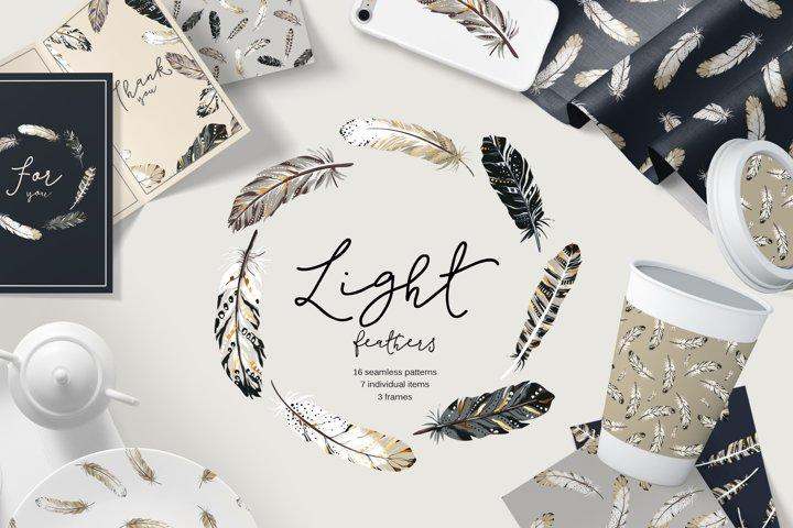 Light feathers seamless patterns