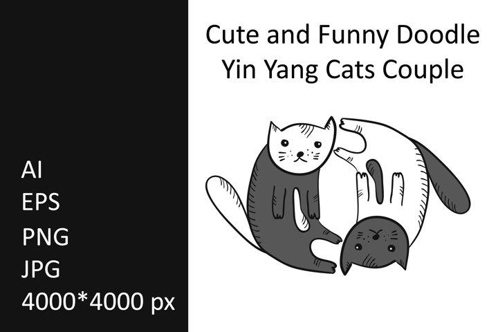 Cute Yin Yang Cats Clip Art