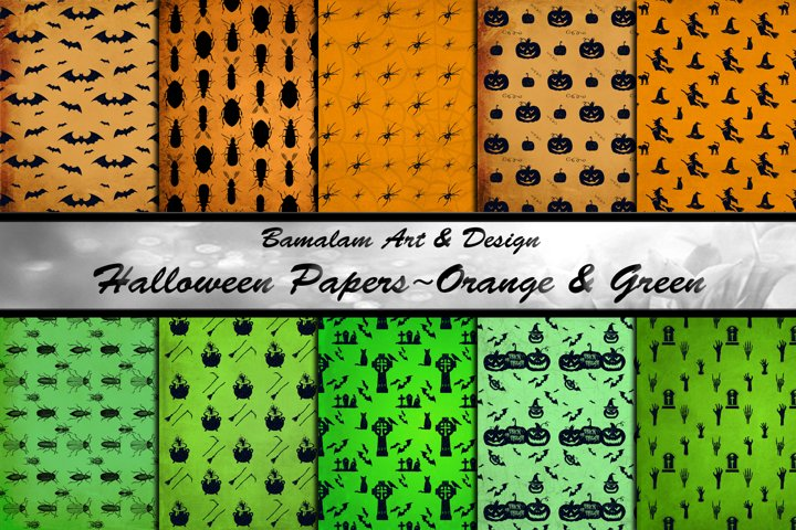 Halloween Patterned Papers in Orange & Green