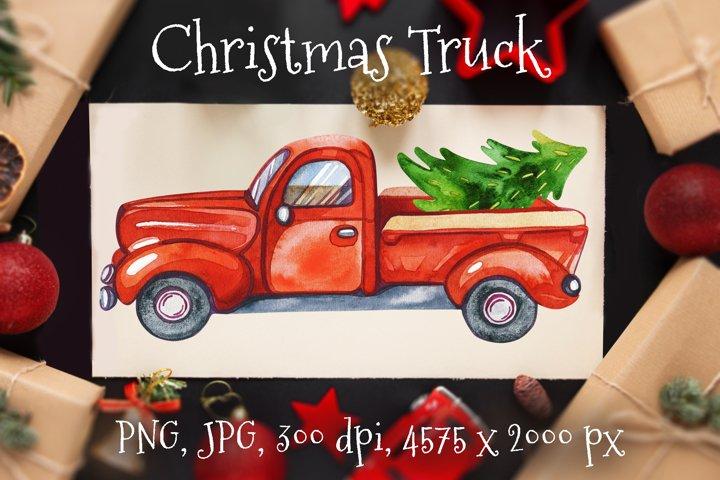 Red Truck Christmas. Truck Christmas Tree. Christmas Card