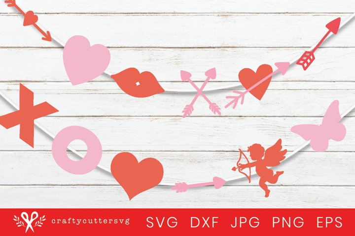 Valentines Day Garland | Valentines Banner | Svg Bundle