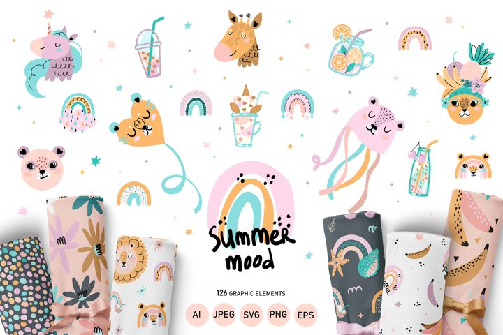 Nursery Cute Animals Summer Mood Big Bundle