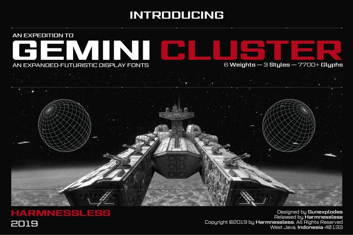 Gemini Cluster - Expanded Futuristic Fonts