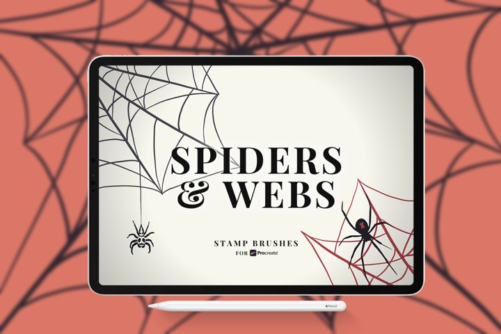 Spiders and Webs Stamp Brushes for Procreate
