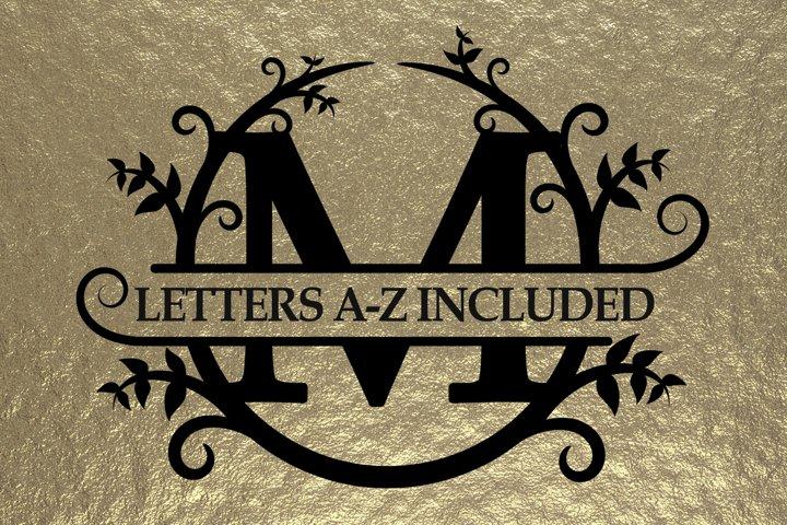 Split monogram alphabet svg, includes all letters A - Z