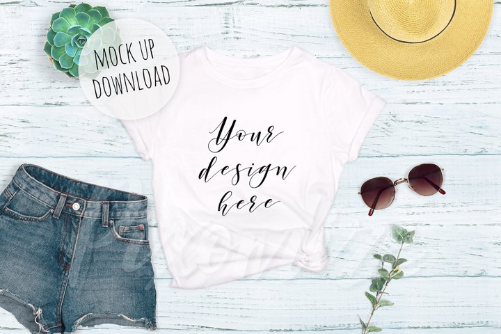 T-Shirt Mockup Photograph - Summer Themed
