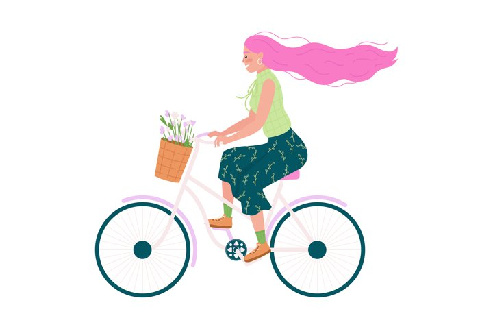 Caucasian woman in bicycle flat color vector character