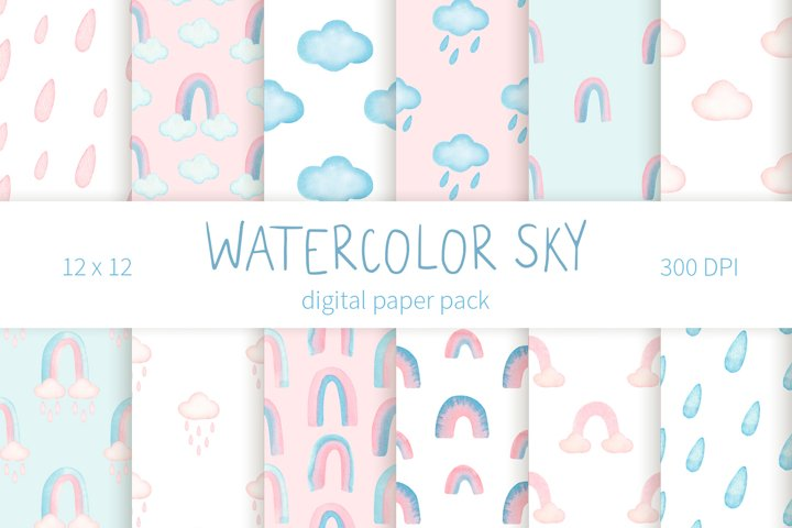 Watercolor rainbow digital paper pack.