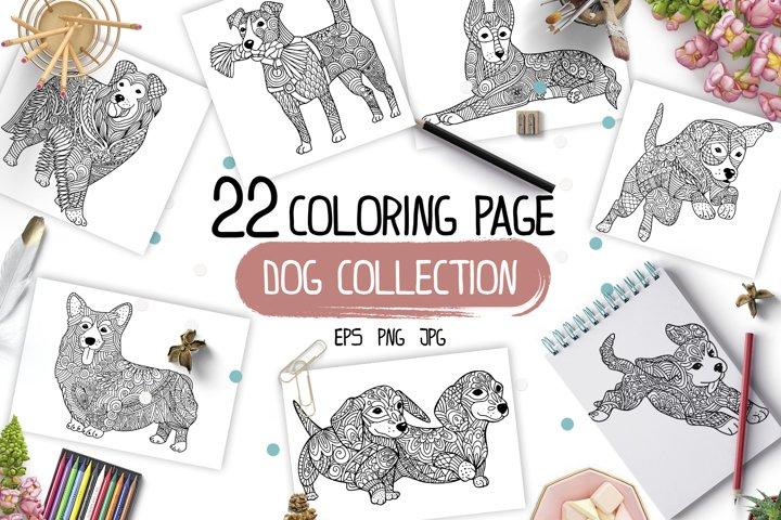 Dog Anti-stress coloring. Vector big set