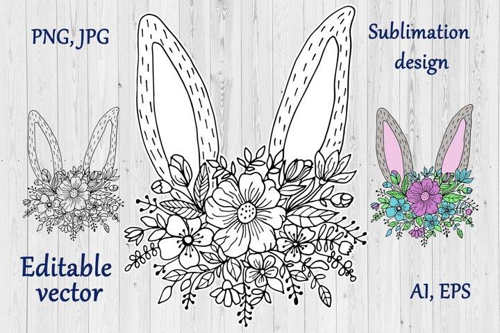 Easter Bunny Ears & Floral Line Art Sublimation Design