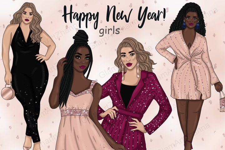 Happy New Year Rose Gold GIRLS Glitter Christmas PNG Files
