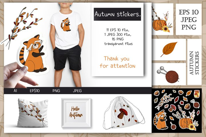 Autumn stickers. eps 10, jpeg 300, png transparent