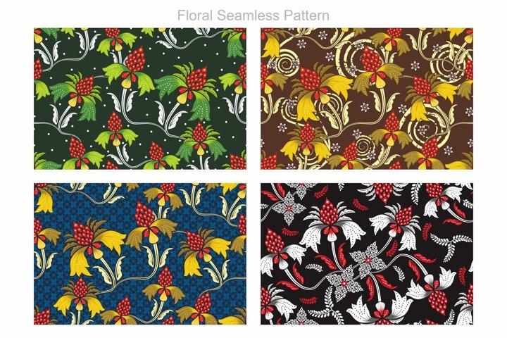 Floral Seamless Pattern, Batik Classic Vector
