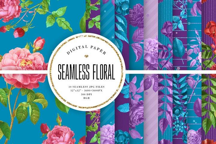 Floral Tileable Patterns - Vintage Blue & Purple Backgrounds