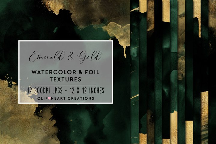 Green & Gold Watercolor and Foil Papers