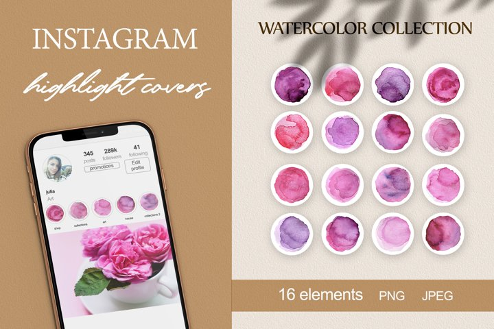 instagram story highlight icons watercolor vintage PNG JPEG