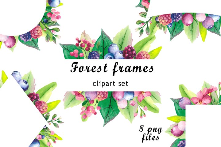Watercolor greenery frames clipart with forest elements