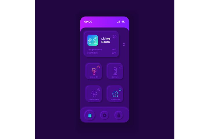 IOT application smartphone interface vector template