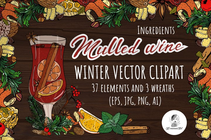 Mulled wine vector colorful clipart!