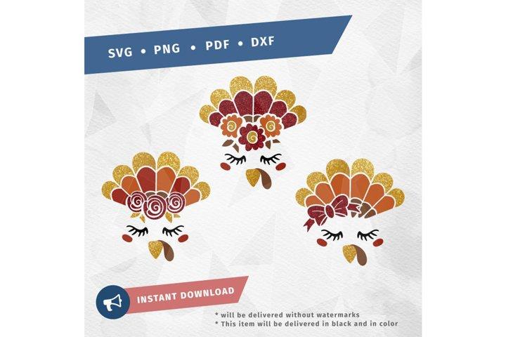 Thanksgiving Turkey Head / TurkeyFace Bundle SVG cut file