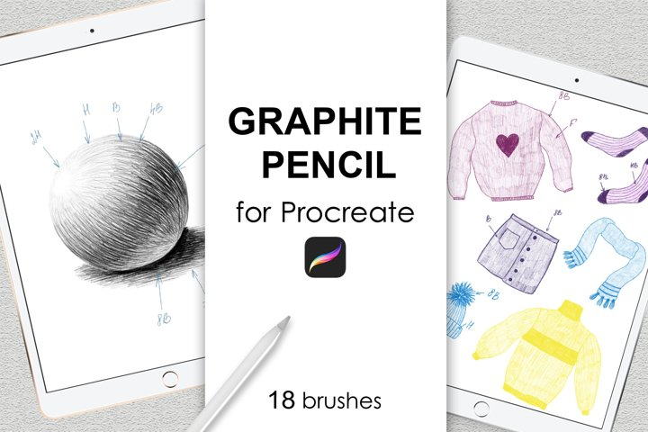Graphite pencil brushes for Procreate