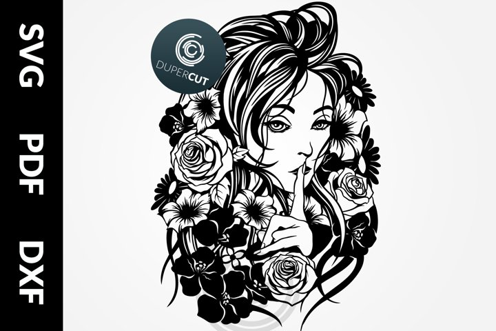 SVG / PDF / DXF Lady Spring, Papercutting Template