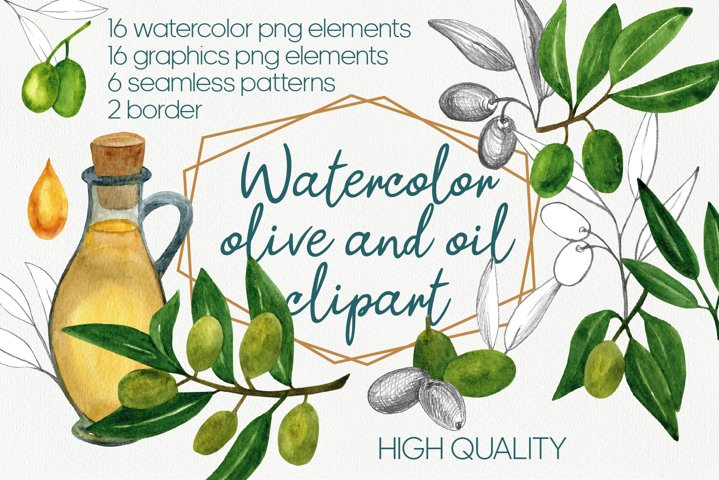 Watercolor and graphic olive leaves and fruits clipart