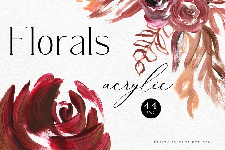 Boho Roses floral clipart, Modern acrylic shapes burgundy