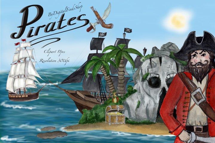 Pirates clipart, sea clipart, treasure island clipart