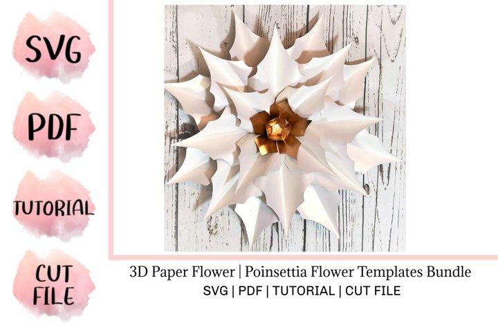 3D Paper Flower | Poinsettia Flower Templates Bundle