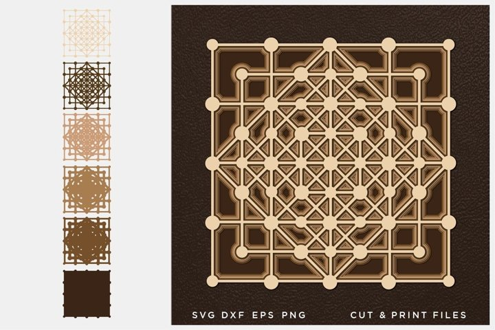 Sacred geometry SVG, 3D Geometry, Cut multilayer Mandala,